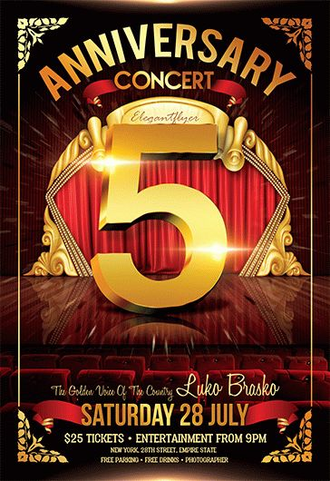 Anniversary Concert  Flyer Psd Template  By Elegantflyer
