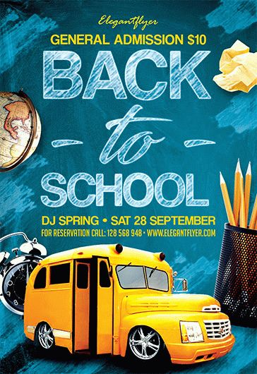 back to school party  u2013 free flyer psd template  u2013 by