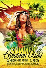 Summer Explosion Party – Flyer PSD Template + Facebook Cover