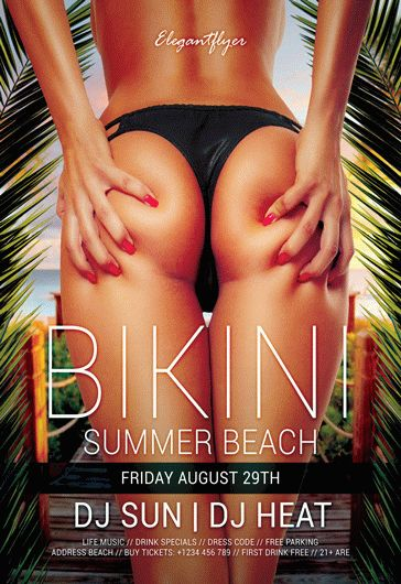 Bikini Summer Beach – Free Flyer PSD Template