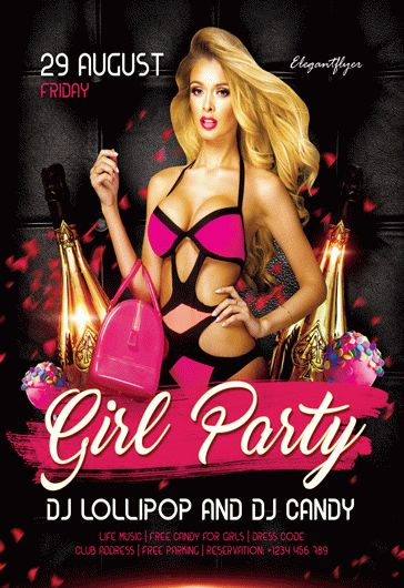 Girl Party – Flyer PSD Template + Facebook Cover