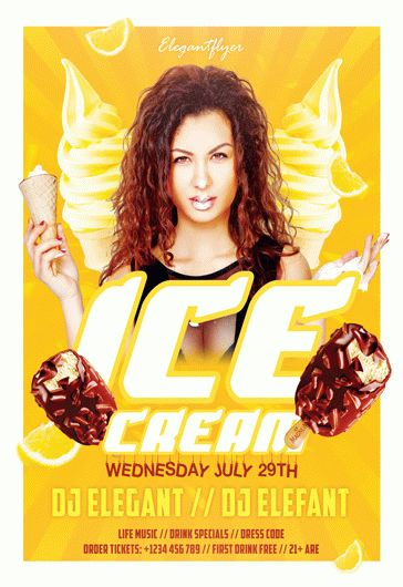 Ice cream party – Flyer PSD Template