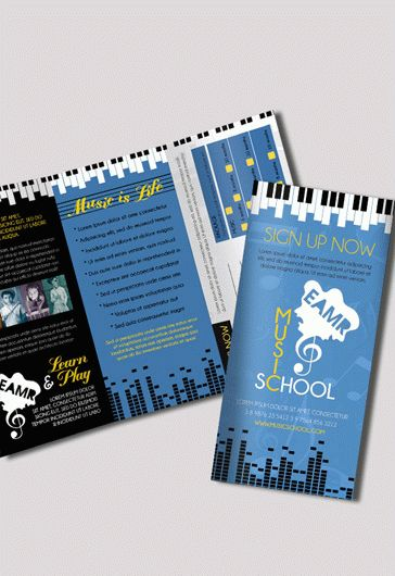 Music School  Premium TriFold Psd Brochure Template  By