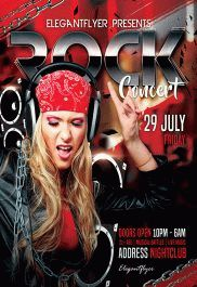 Rock Concert – Flyer PSD Template + Facebook Cover
