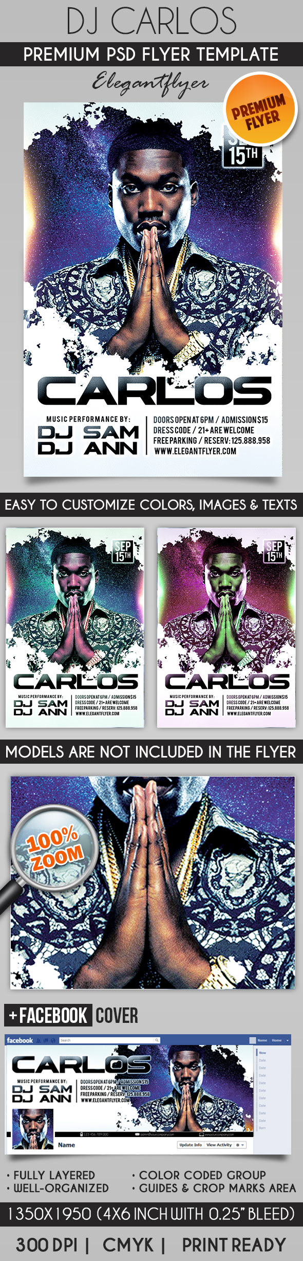 Dj Carlos – Flyer PSD Template + Facebook Cover