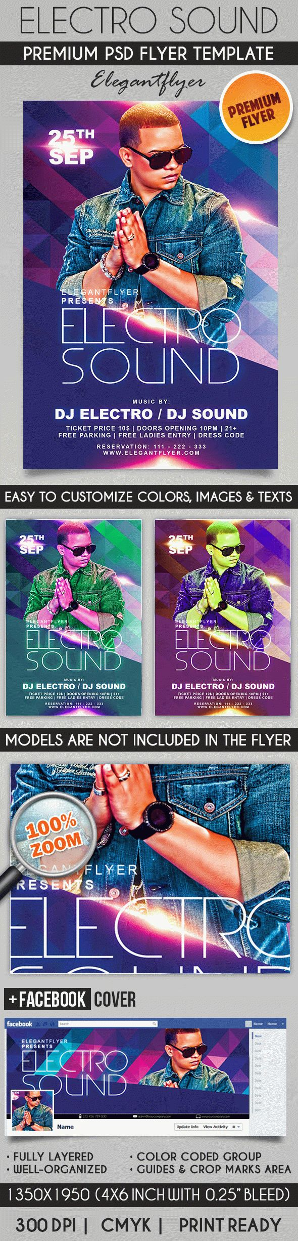 Electro Sound Party – Flyer PSD Template + Facebook Cover