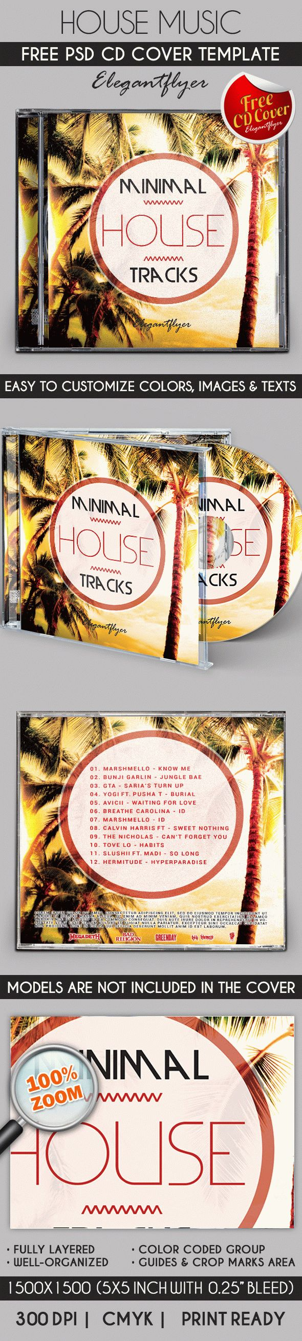 Free Template CD Cover for House Music Party