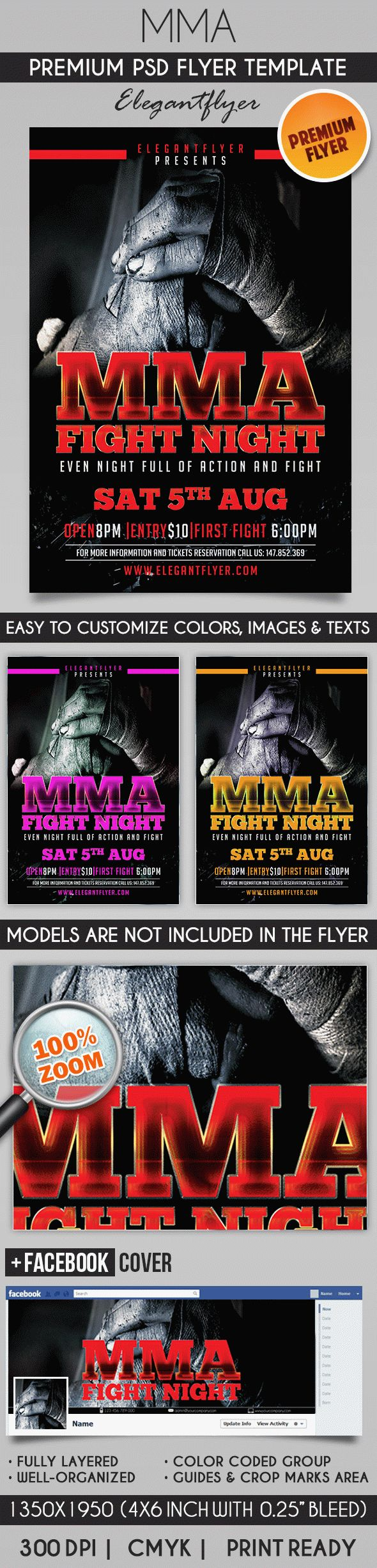 Fight Night – Flyer PSD Template + Facebook Cover