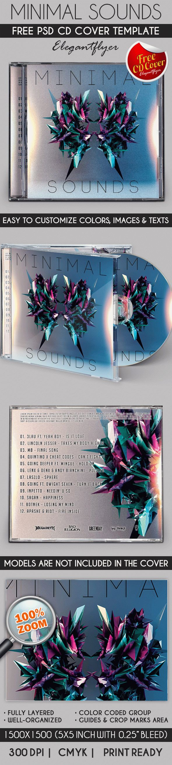 Minimal Sound – Free CD Cover PSD Template