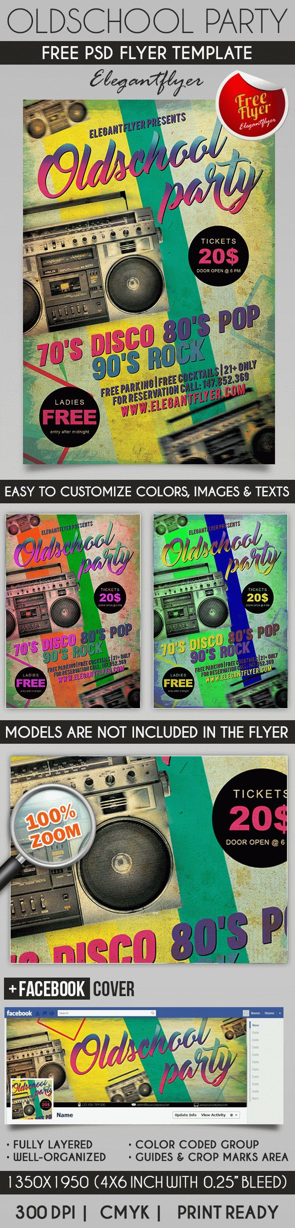 Old School Party – Flyer PSD Template