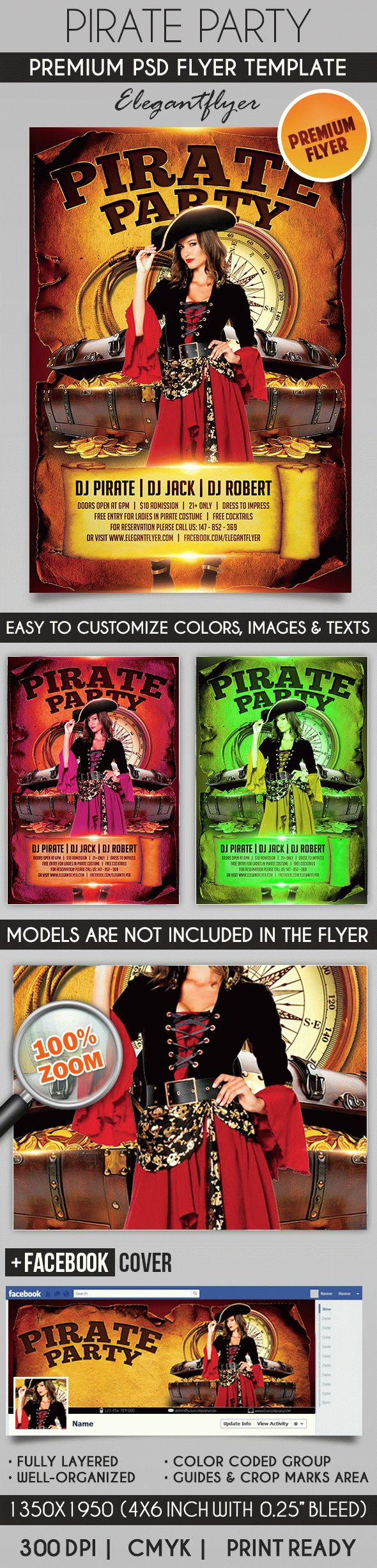 Pirate Party – Flyer PSD Template + Facebook Cover