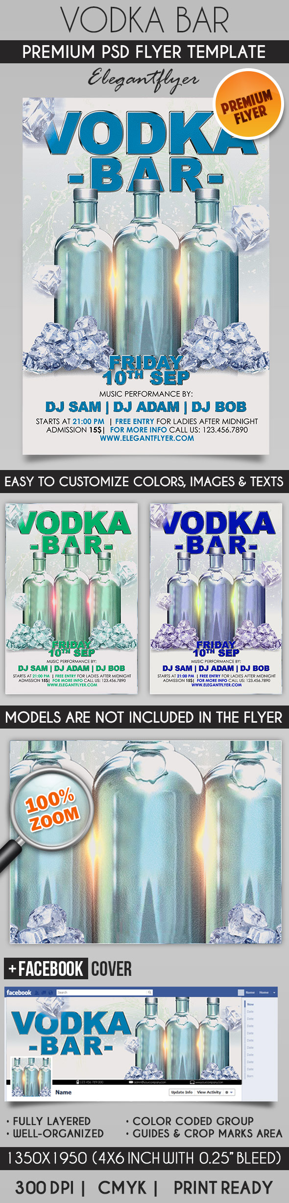 Vodka Bar – Flyer PSD Template + Facebook Cover
