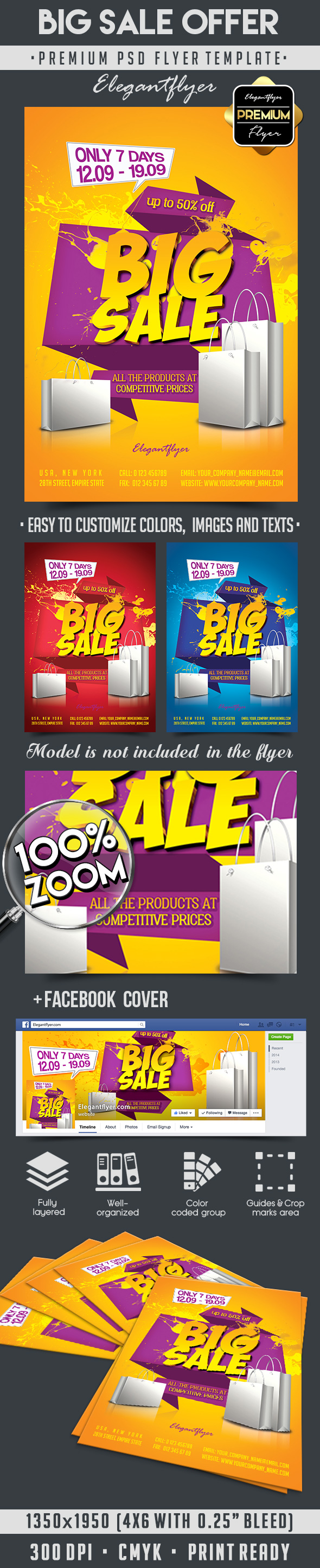 Big Sale Offer – Flyer PSD Template + Facebook Cover