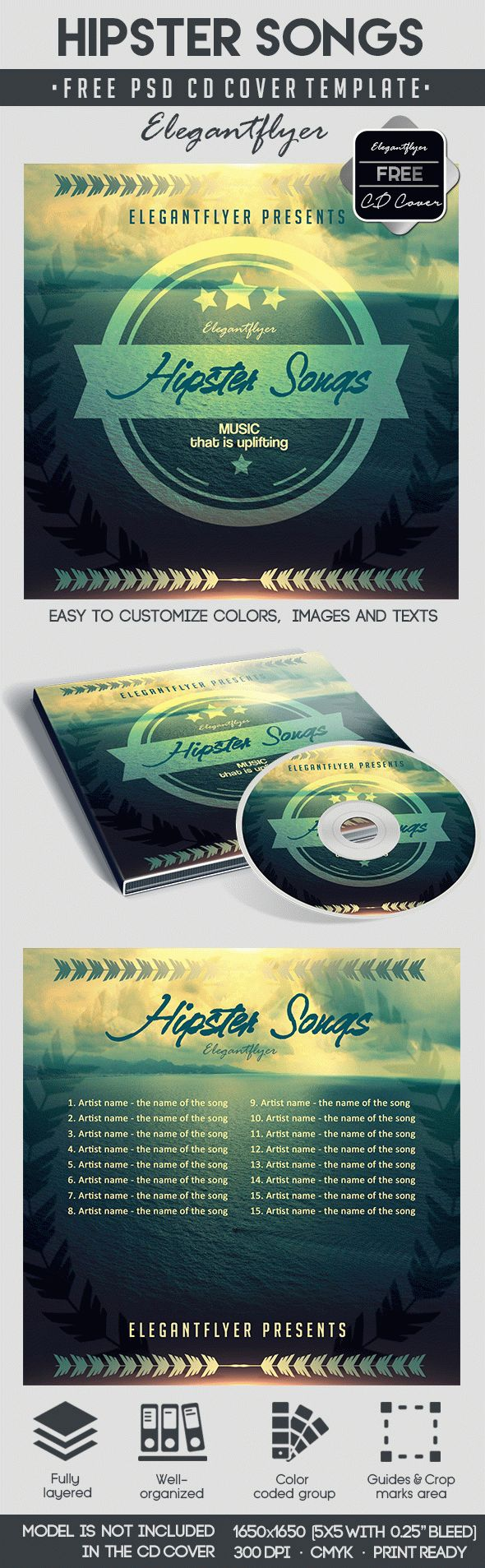 Hipster Songs – Free CD Cover PSD Template