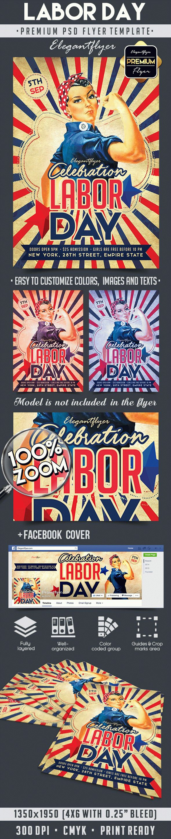 Labor Day – Flyer PSD Template + Facebook Cover