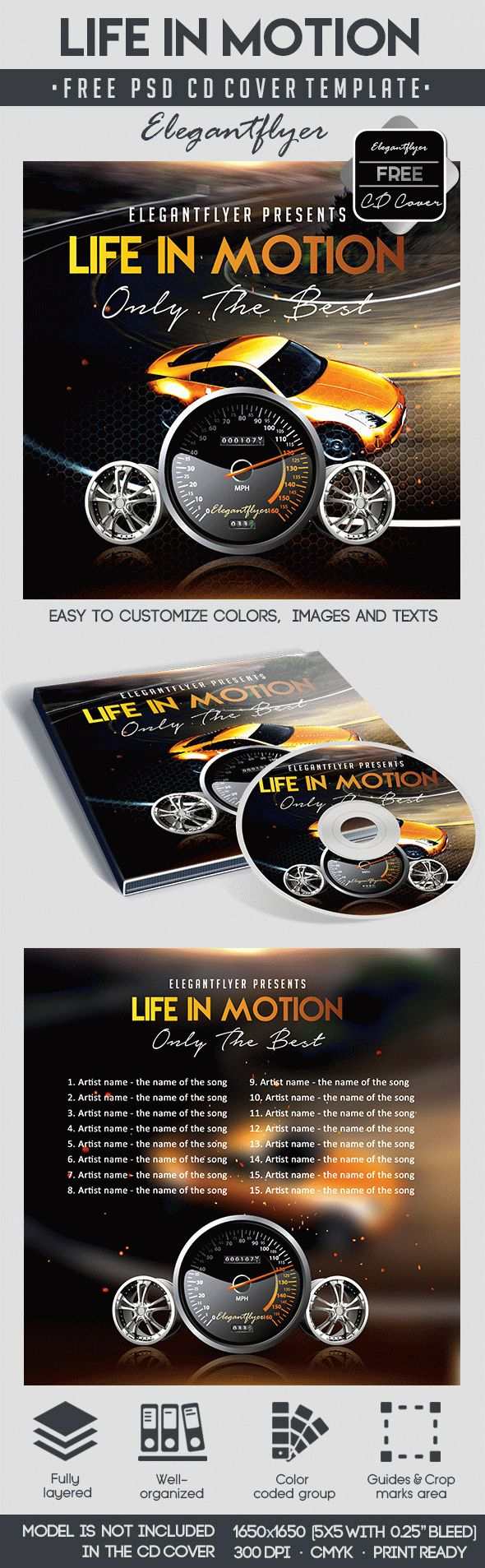 Life Motion – Free CD Cover PSD Template