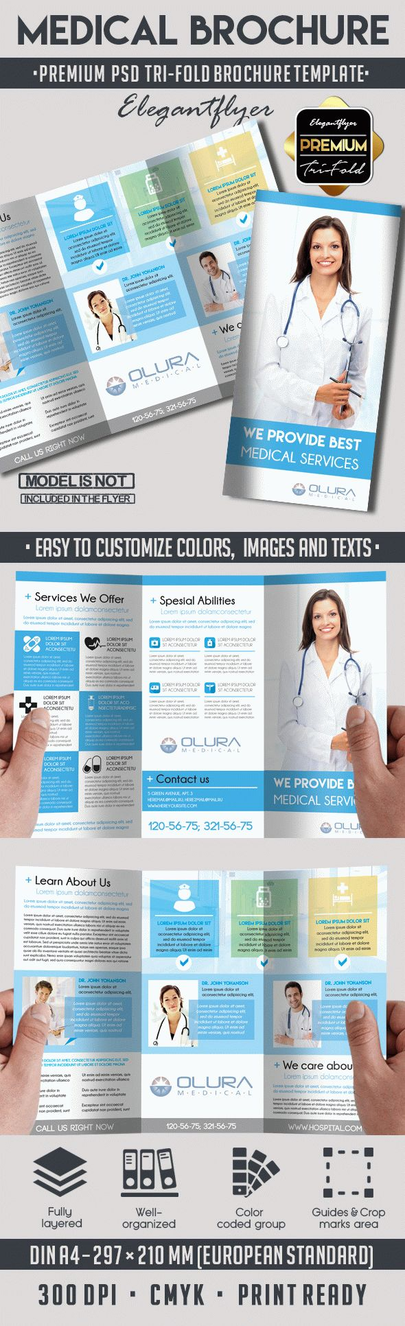 Medical U2013 Premium Tri Fold PSD Brochure Template  Medical Brochures Templates