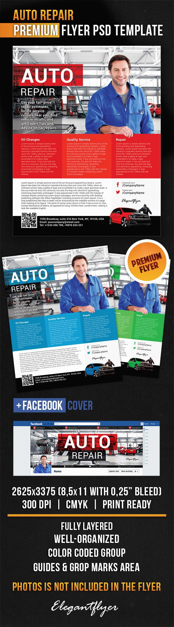 Auto Repair – Flyer PSD Template + Facebook Cover