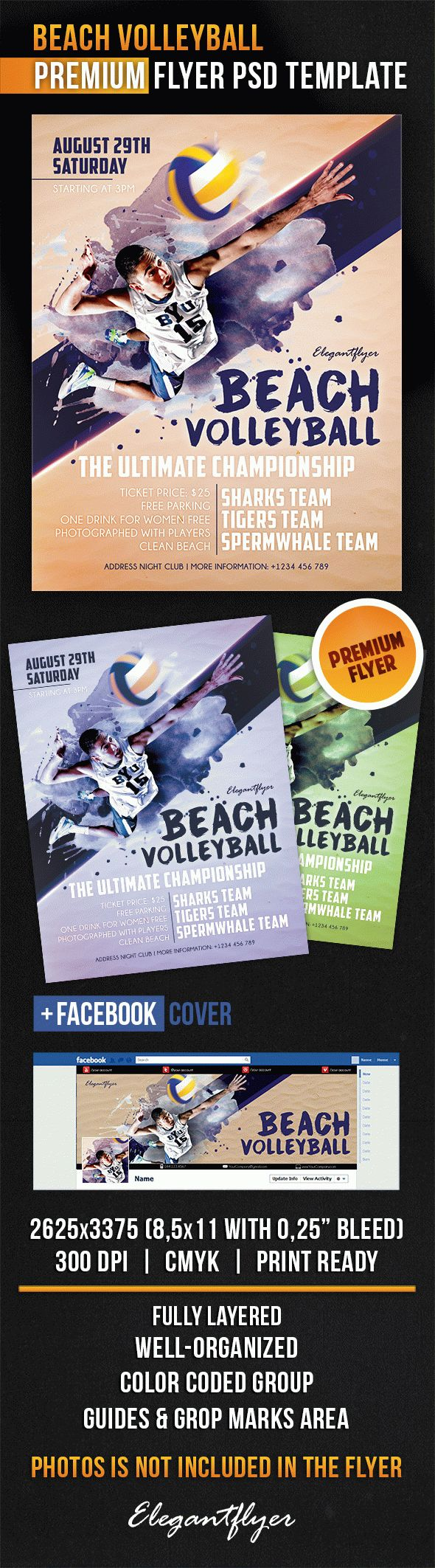 Beach Volleyball – Flyer PSD Template + Facebook Cover