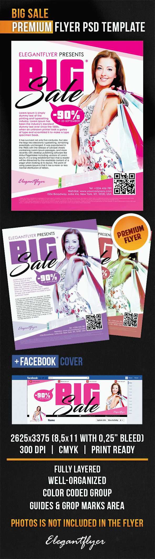 Big Sale – Flyer PSD Template + Facebook Cover