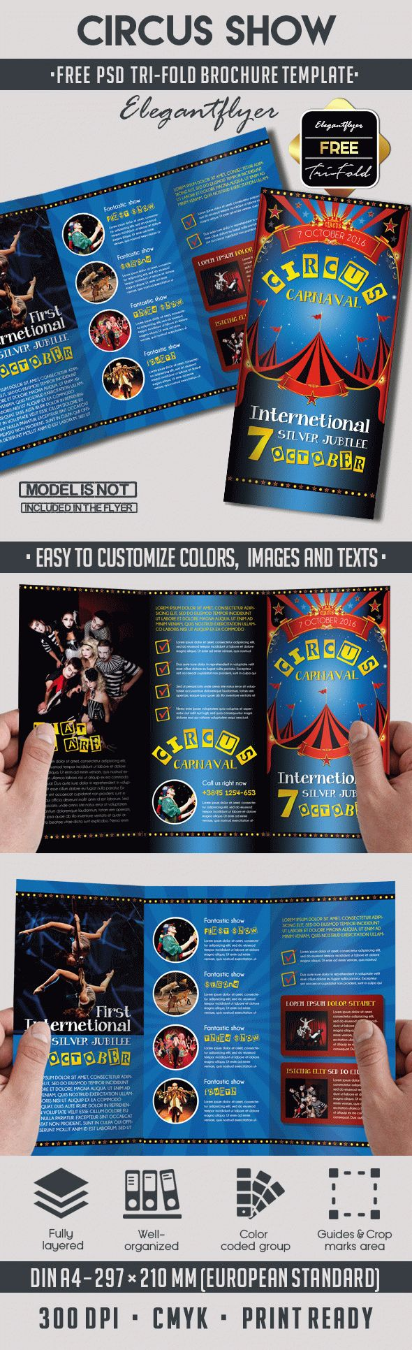 Circus free psd tri fold psd brochure template by for Tri fold brochure template photoshop free