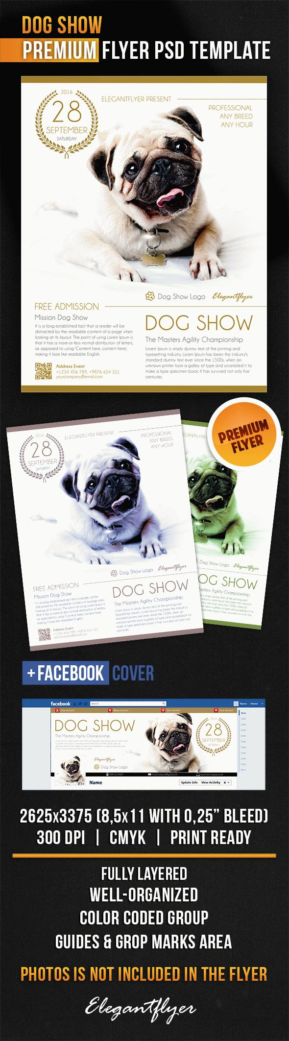 Dog show flyer psd template by elegantflyer for Dog show certificate template