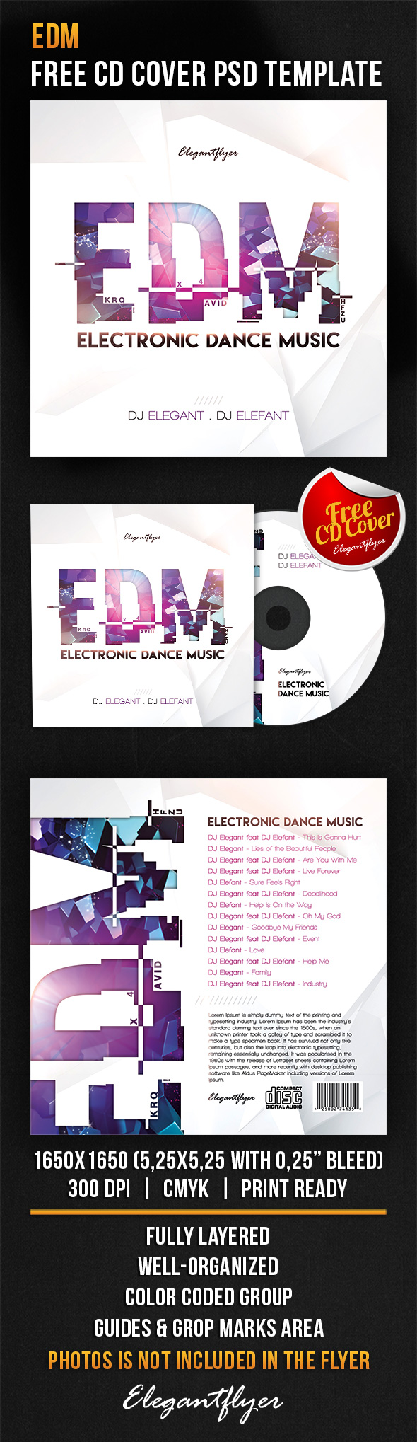 EDM – Free CD Cover PSD Template