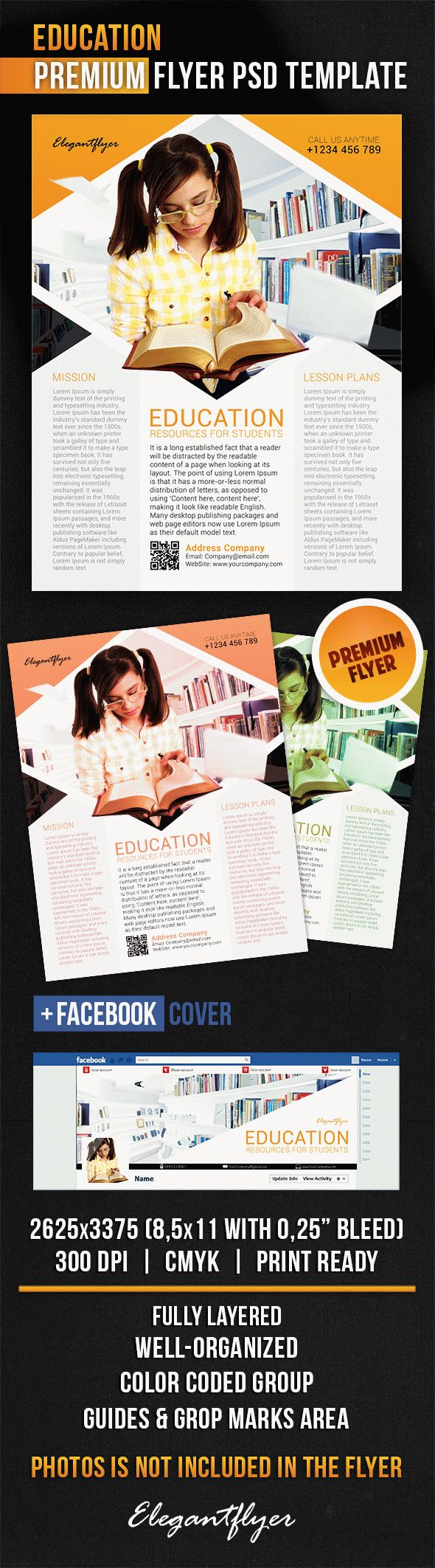 Education – Flyer PSD Template + Facebook Cover