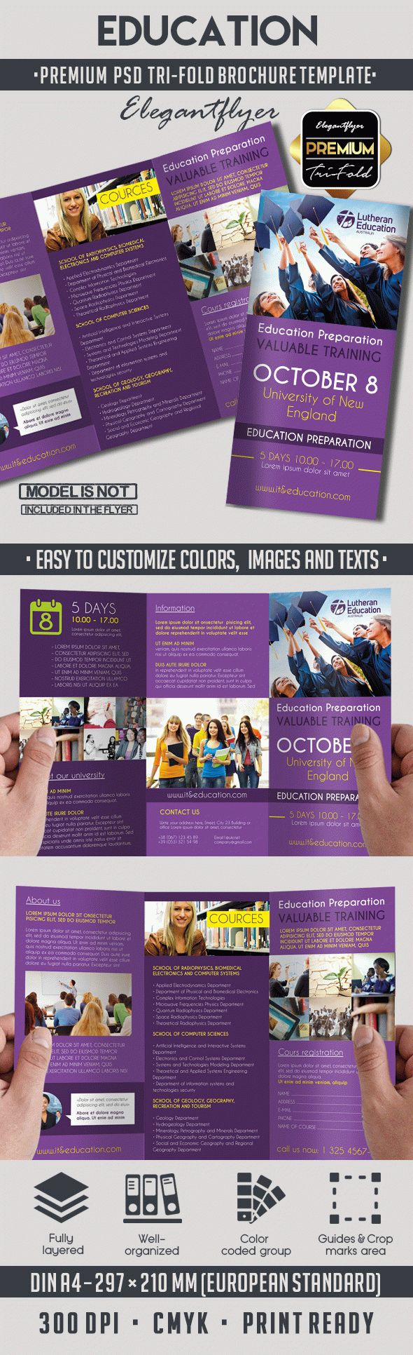 Education – Premium Tri-Fold PSD Brochure Template