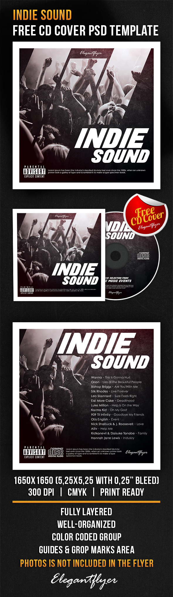 Indie Sound – Free CD Cover PSD Template