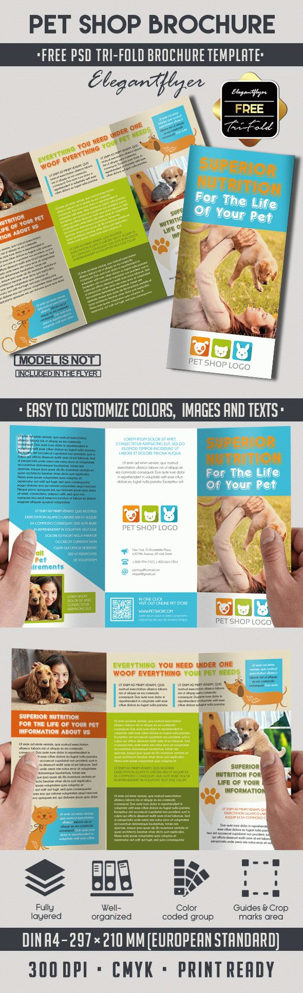 Pet Shop Free PSD TriFold PSD Brochure Template by ElegantFlyer – Advertising Brochure Template