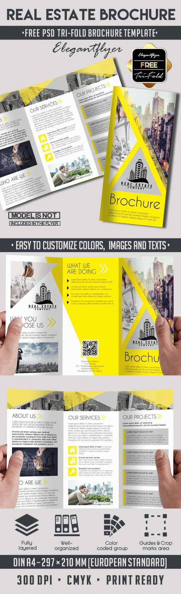 Real Estate Free TriFold PSD Brochure Template by ElegantFlyer – Advertising Brochure Template