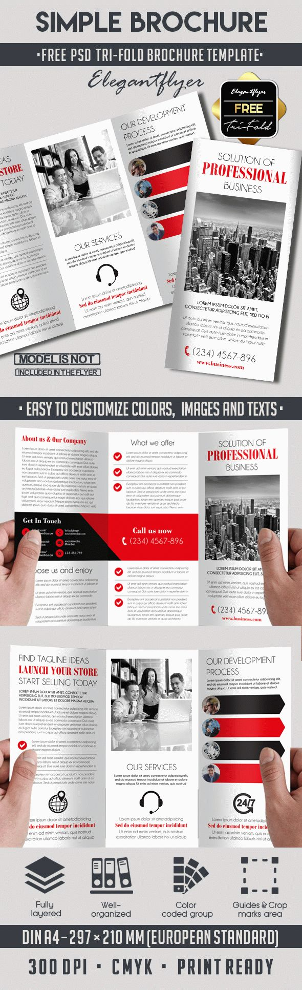 Simple free tri fold psd brochure template by elegantflyer for Free template for brochure tri fold