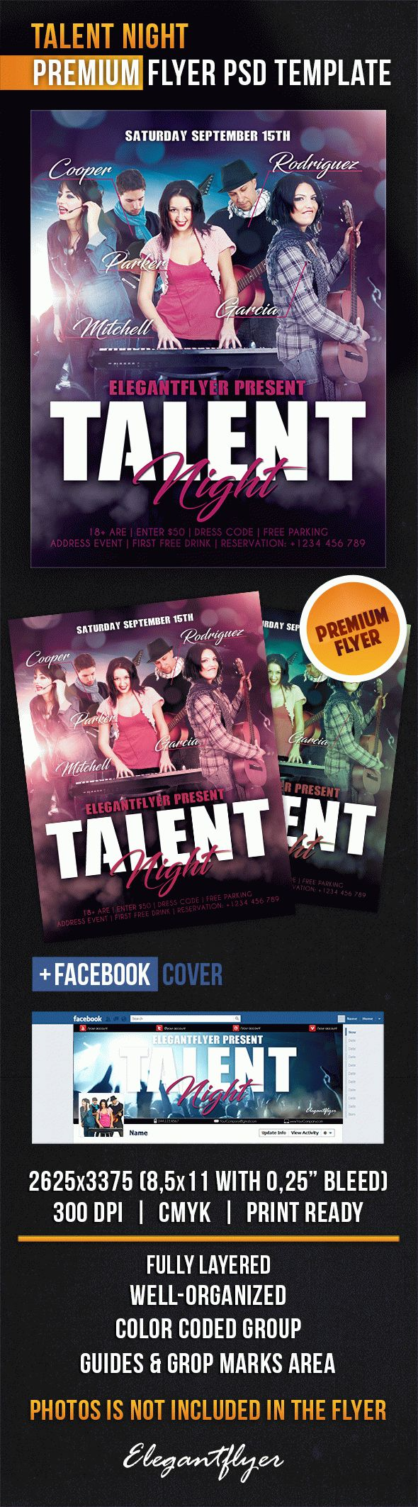 Talent Night – Flyer PSD Template + Facebook Cover