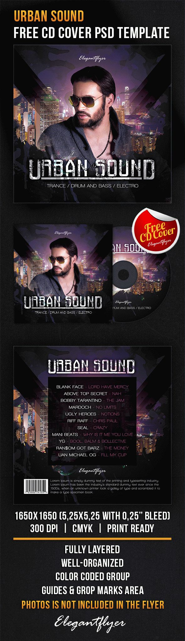 Urban Sound – Free CD Cover PSD Template