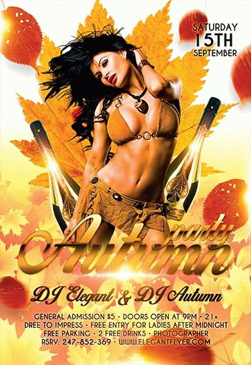 Autumn Party Themes PSD Flyer