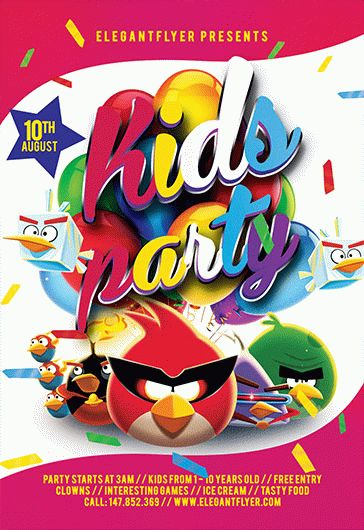 kids angry birds party flyer  u2013 by elegantflyer