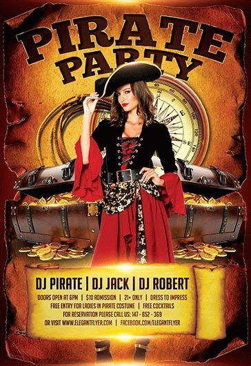 pirate party flyer in psd  u2013 by elegantflyer
