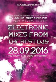 Electronic Mixes – Flyer PSD Template + Facebook Cover