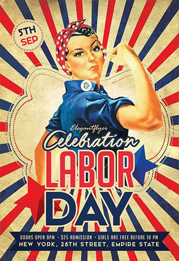Labor Day Retro Flyer Template