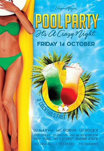 Pool Party It's a Crazy Night – Flyer PSD Template