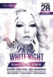 White Night Party – Flyer PSD Template + Facebook Cover