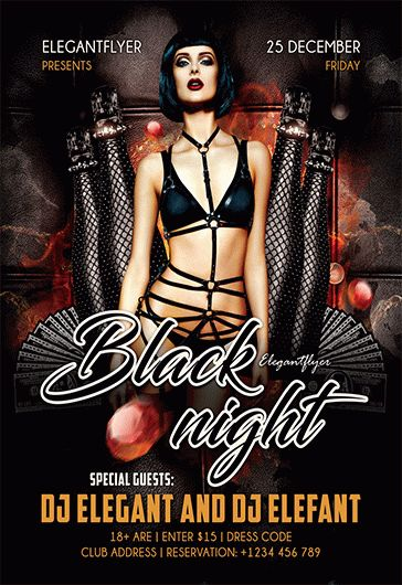 Black Night – Flyer PSD Template + Facebook Cover