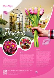 Flowers Shop – Flyer PSD Template + Facebook Cover