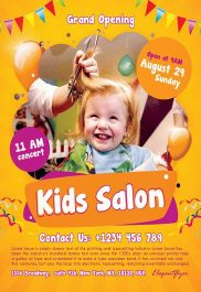 Kids Salon – Flyer PSD Template + Facebook Cover