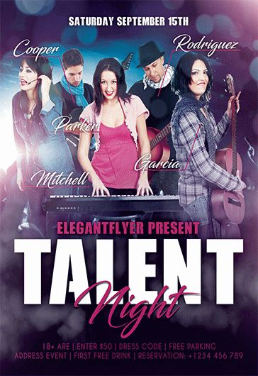 Talent Show – Free Flyer PSD Template + Facebook Cover
