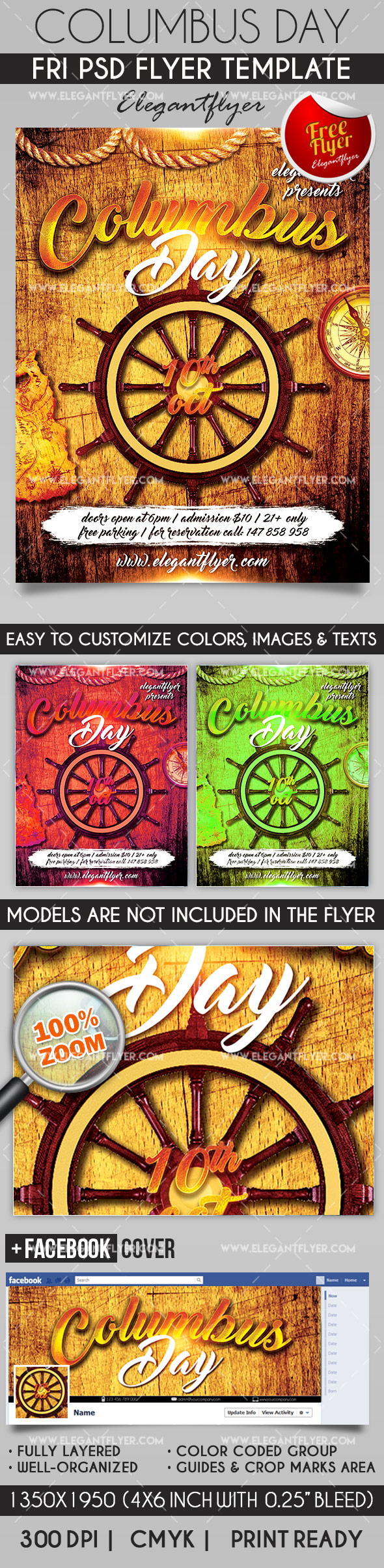 Columbus Day – Flyer PSD Template + Facebook Cover