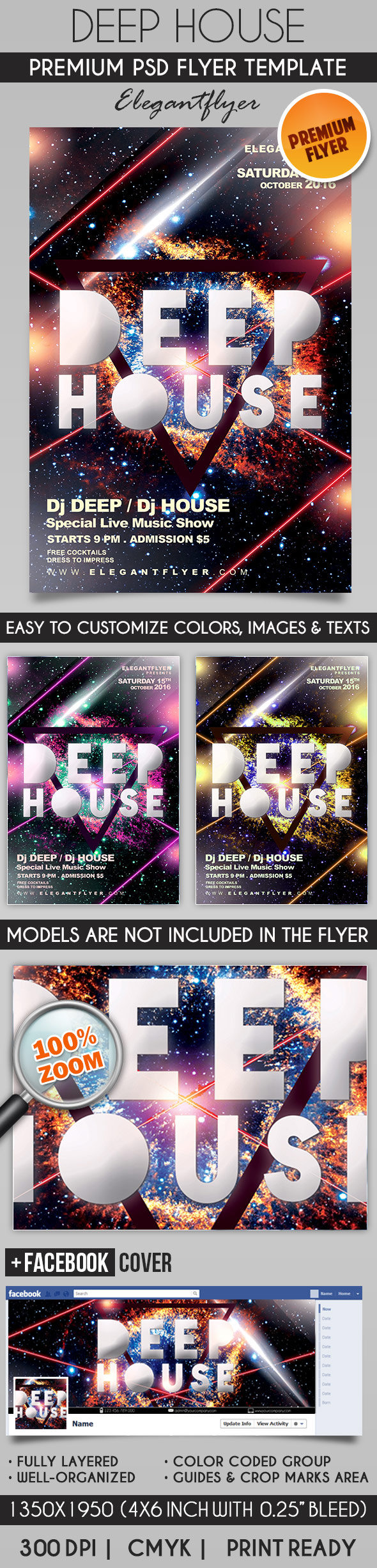 Deep House – Flyer PSD Template + Facebook Cover