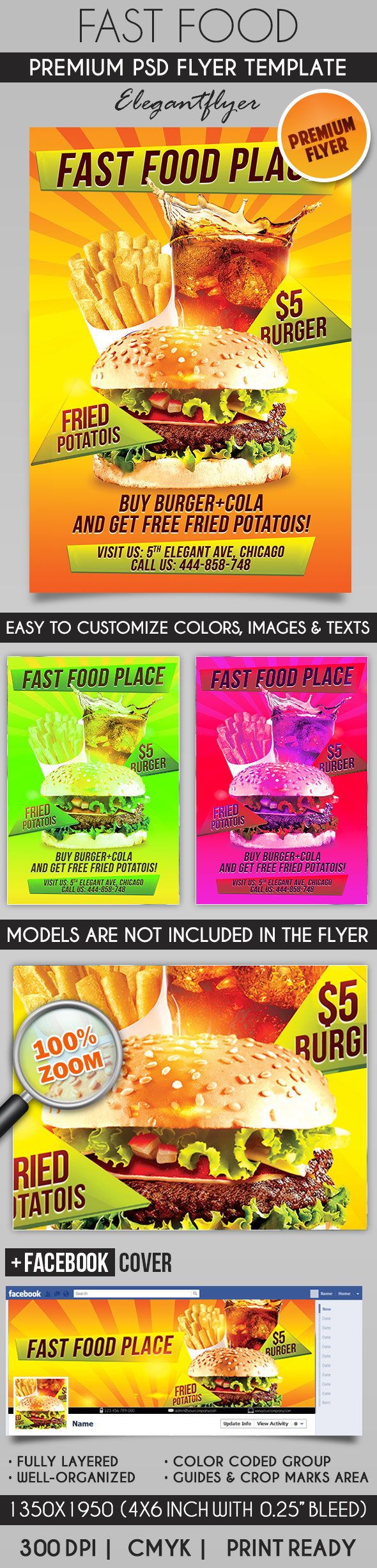 Fast Food – Flyer PSD Template + Facebook Cover