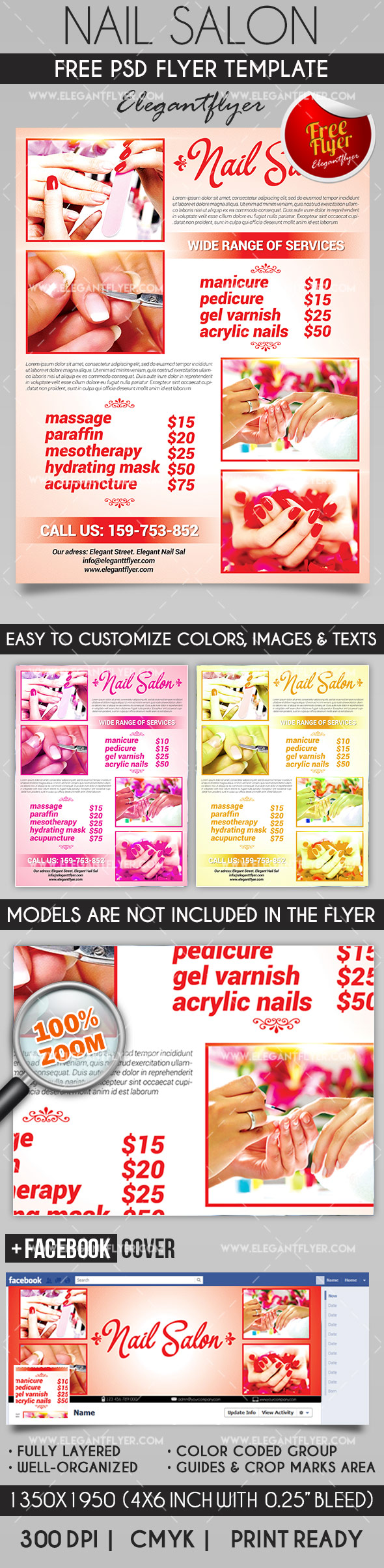 Nail Salon – Flyer PSD Template + Facebook Cover